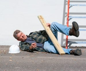 a man fataly falling from a stepladder