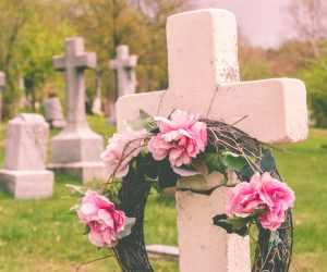 Grave with floral wreath