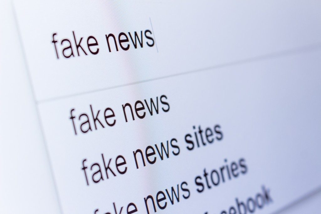 Fake news search results