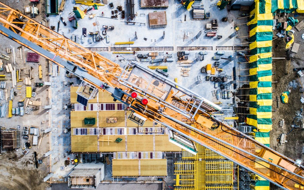 Birds eye view of a construction site