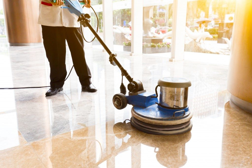 cleaning and waxing floor