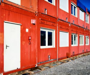 red homes from shipping container