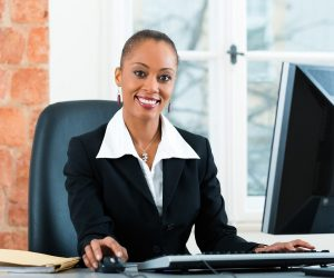 Female paralegal in her office