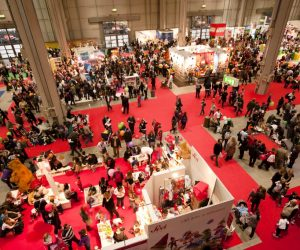 trade show booths and visitors