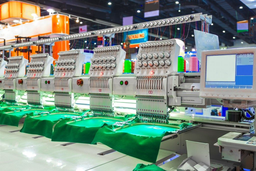 Embroidery machines in factory