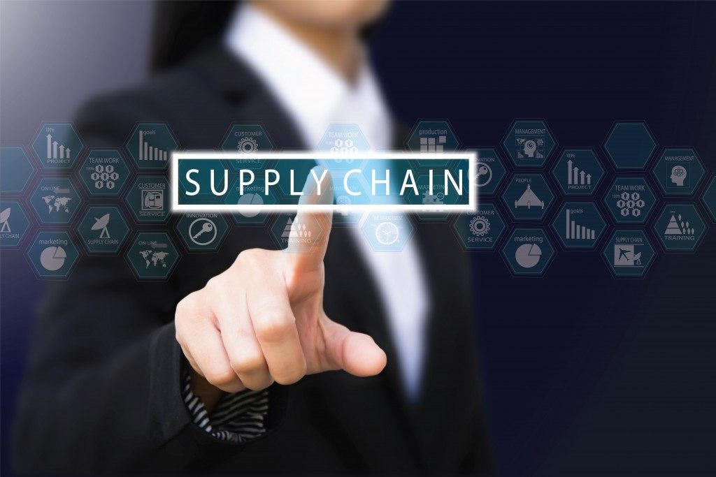 Analyst pressing a supply chain button