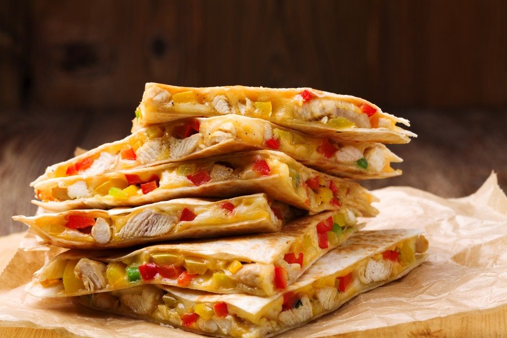 quesadillas stacked and served