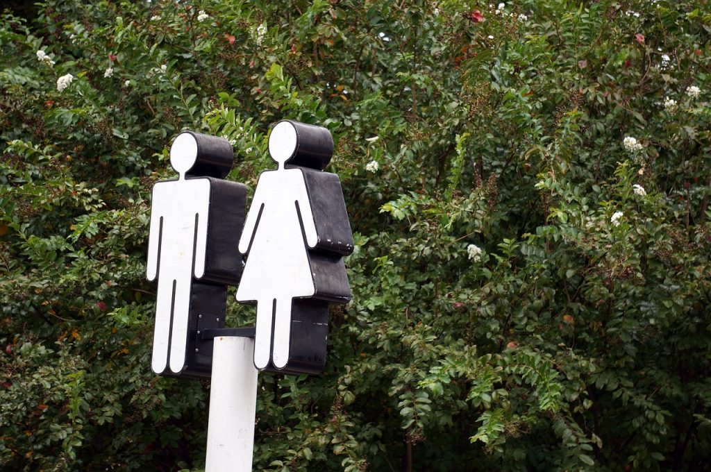 restroom sign of man and woman
