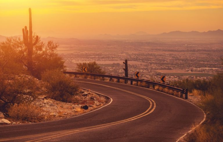 road along a desert in Arizona
