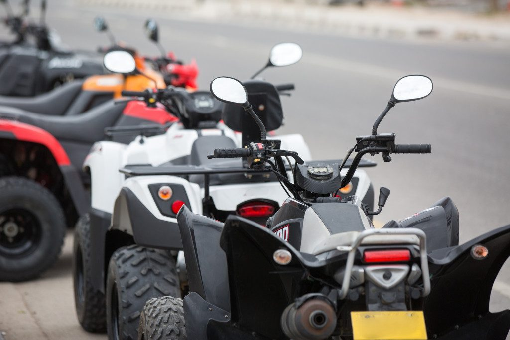 line of ATVs parked