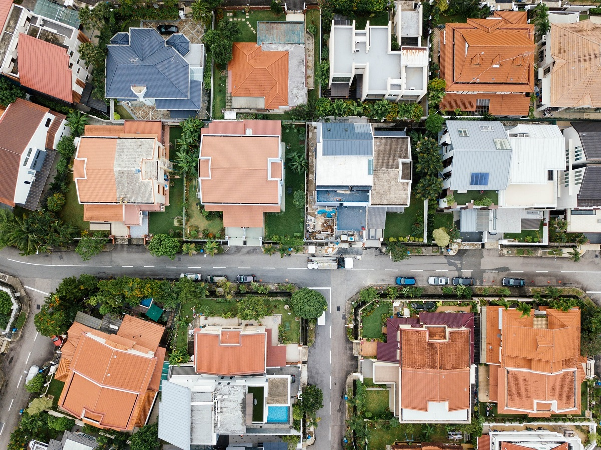 top view of houses