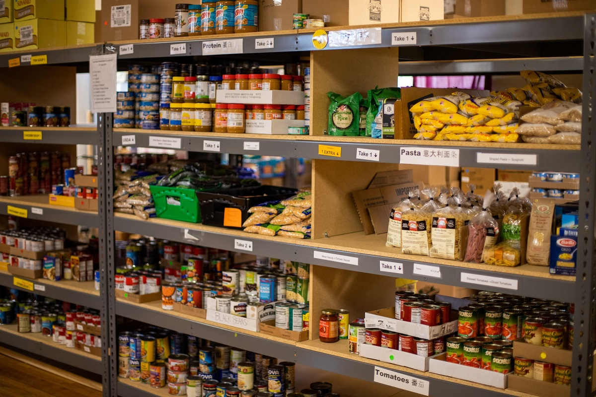 grocery items on shelves
