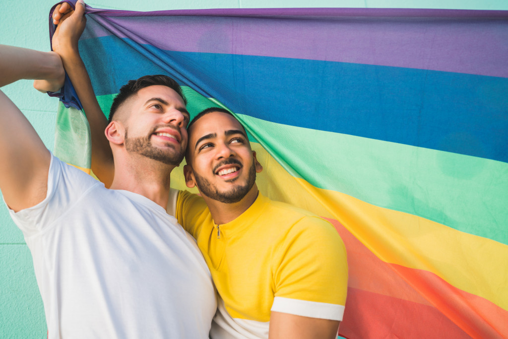 lgbtq flag and people